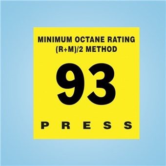 Gilbarco Encore 300 - Octane Rating Decal